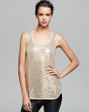 NEW DVF DIANE VON FURSTENBERG PELLINA GOLD SEQUINS SLEEVELESS TANK TOP BLOUSE 0