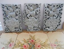 Bali Indonesian 3 Panel Hand Carved Wood Thai Dancer Pictures