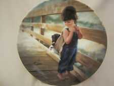 ALMOST HOME collector plate DONALD ZOLAN Boy w/ dog CHILDREN Barefoot