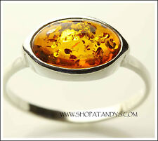 EXQUISITE AUTHENTIC BALTIC AMBER 925 STERLING SILVER RING SIZE 8