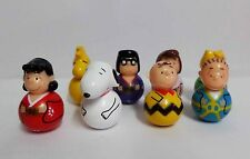 Collectors Rare Snoopy Charlie Brown Set of 8 Display Tumbler Figure Set
