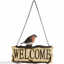 Hanging Welcome Plaque Door Sign Outdoor Ceramic Robin Bird Outside Garden