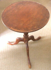 "Mahogany Circular Wine Table On Turned Support & Tri Leg Base 21""H 18""D"