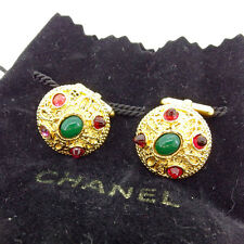 Auth Wind Rare Chanel Cufflink Stone used J15470