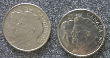TWO (2) PIECES CANADA 2005 Quarter 25 CENTS Coin (Year Of the Veteran)