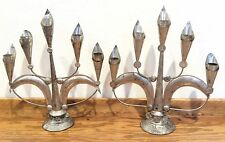 Pair Mexican Tin Candelabra Candle Holders Calla Lily Vintage Folk Art