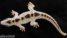 Signed Swan Gold Plated Swarovski Pave  Black Crystal Gecko Brooch Pin