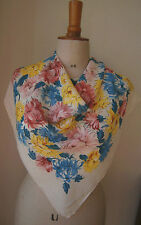 VINTAGE 1930'S/40's CREPE SCARF FLOWER PRINT YELLOW BLUE & PINK CRYSANTHMUMS