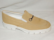 Equine Couture Tan/Navy Blue Bit Stretch Slip On Loafer Fabric Rubber Sole 10-11
