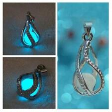 Blue Womens Little Mermaid Teardrop Glow in the Dark Necklace With Pendant