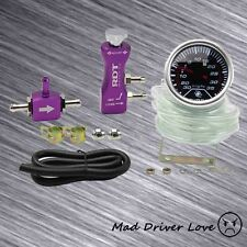 "2"" DIGITAL LED 35PSI BOOST GAUGE MANUAL ADJUSTABLE TURBO BOOST CONTROLLER PURPLE"