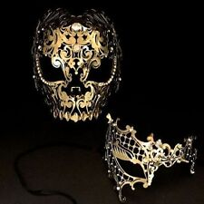 Men Women Couple Gold Metal Evil Skull & Phantom Lase Cut Prom Masquerade Masks