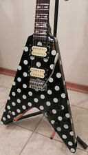 NEW  CUSTOM RR RANDY RHOADS BLACK & WHITE POLKADOT FLYING V GUITAR