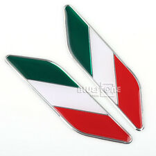 2 pcs 3D Aluminum Auto Decal Italy Italian Flag Car Decor Sticker Emblem Badge