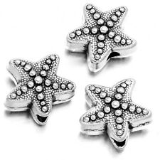50pcs Vintage Silver Color Starfish Shape Findings Charms Alloy Spacer Beads D