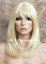 Face Framing Long Straight Blonde Human Hair Blend Wig Heat Safe wda 613