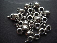 50 quality silver slide bead bails hangers for Kumihimo /leather charm bracelets