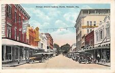 1920 Early Cars Stores Drug Store Orange Ave. looking North Orlando FL post card