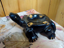 BLACK TERRACOTTA TURTLE ASHTRAY WITH GOLD ACCENTS