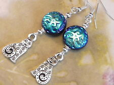 EARRINGS SILVER PLATED WHIMSICAL SWIRL CAT CHARMS & CZECH JET AB SWIRLED GLASS