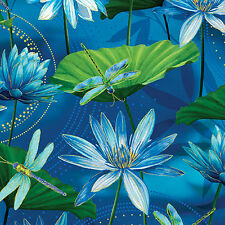 Dragonfly fabric Benartex Dance of dragonflies Waterlilly pool ultramarine  FQ