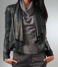 Diane Von Furstenberg Meringue DVF Black Lightweight Leather Jacket/ Size 6 (XS)