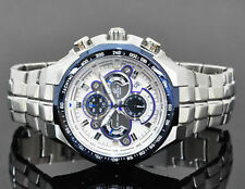 Casio Edifice Men's Wristwatch - EFR-554 -2AV STEEL WHITE BLUE CHRONOGRAPH