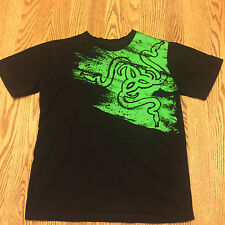 Razer Game Gear T-shirt Tee Shirt Black and Green Size M