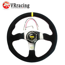 350mm Suede Leather Flat Style Steering Wheel OMP MOMO Sparco Rally Drifting BK