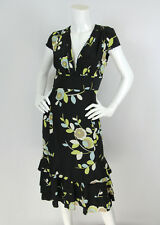 Tuleh Sz 6 M Black Floral Silk Raw Edge Pleated V-Neck Cap Sleeve Dress