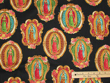 Inner Faith Lady of Guadalupe Blk Religious Fabric by the 1/2 Yard   #15651-2