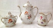 Antique Porcelain Tea Pot with Creamer & Sugar~Unmarked Dresden(?) Style Tea Set