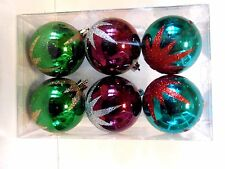 4 Green Turquoise Burgundy 2.5 In Glitter Ornament Christmas Tree Decoration