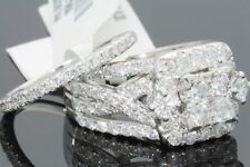 10K WHITE GOLD 3.19 CT WOMEN REAL DIAMOND ENGAGEMENT RING WEDDING BAND RING SET