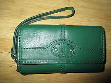 NWT Fossil Maddox Leather iPhone 4 5 Case Wristlet Wallet ID Fir Kelly Green $45