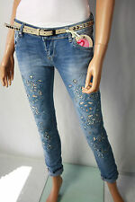 Jeans Hose Stretch Gr. S USED Denim Blau Destroyed Flowers ♥ Strass ♥ Spitze Neu