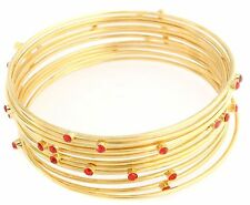 Joan Rivers 10 Red Crystal Accent Bangle Bracelets Goldtone   NWT
