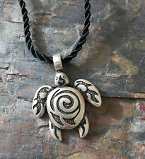 Antique Silver Plt Tribal Sea Turtle Pendant Necklace Ladies Men Gift Wildlife