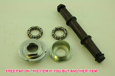 3P BOTTOM BRACKET AXLE SET COMPLETE WITH CUPS & QUALITY BEARING SET THREADED NEW