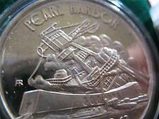1+.OZ.999 RARE SILVER COIN WWII DEC 7 1941 PEARL HARBOR + GOLD USS ARIZONA