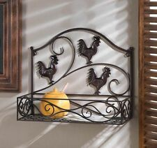 COUNTRY STYLE  METAL SCROLLWORK  ROOSTER WALL BASKET SHELF NEW~10015847