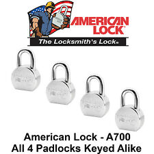 4 NEW American Lock A700 High Security Solid Steel Padlocks