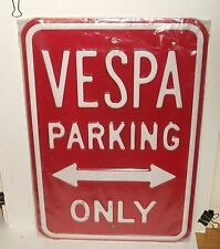 LARGE RED AND WHITE HEAVY GAUGE STEEL ENAMEL VESPA SIGN