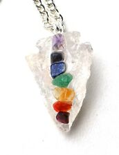 REIKI HEALING ENERGY CHARGED CLEAR QUARTZ CRYSTAL ARROWHEAD CHAKRA PENDANT GIFT