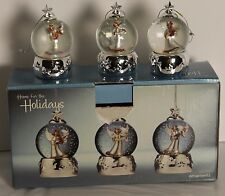 Holiday Home 3 Angel Snow Globe Ornaments Silver Star Harp Instruments Water