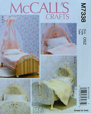"""McCall's 7338 Sewing PATTERN for 18"""" American Girl DOLL BED Canopy Bedding"""