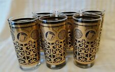 6 Vintage Libbey Prudential Gibraltar Black Gold Glass Highball Tumblers Retro
