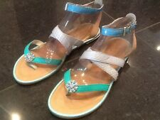 Juicy Couture New & Gen. Ladies Green Leather Sandals UK 4.5 EU 37.5 With Logo