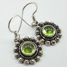Ladies Jewelry !! 925 Solid Silver GREEN PERIDOT VINTAGE STYLE Earrings 3.1 CM