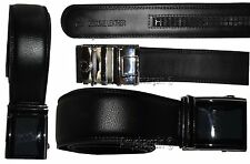 New Men's Black Leather Dress Belt w/ Auto Lock Sliding Buckle, Up to 41 inches